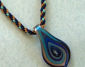 SOLD  Blue and Gold Kumihimo Cord with Murano Glass Pendant