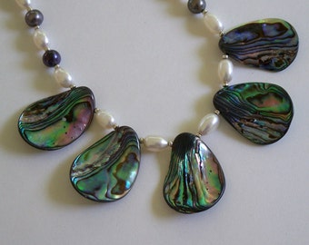 Green and Blue Iridescent Abalone Teardrops and Freshwater Pearl Necklac by Carol Wilson of Jet'adorn