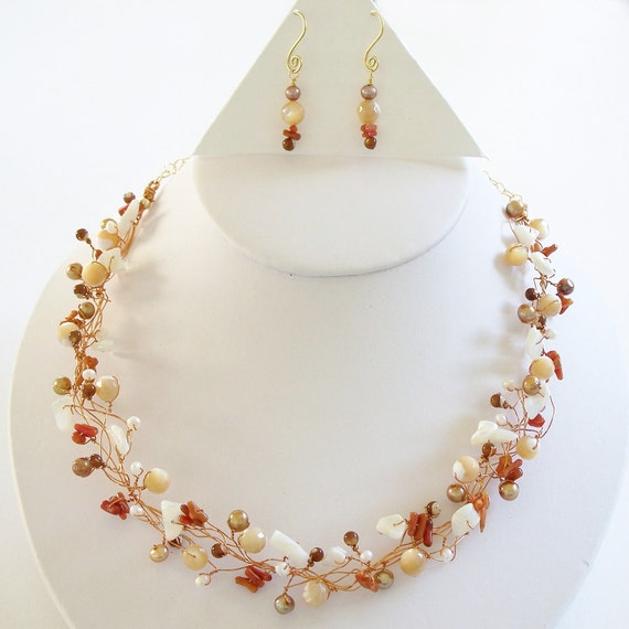 Rusty Coral and Mother of Pearl Birds Nest Necklace