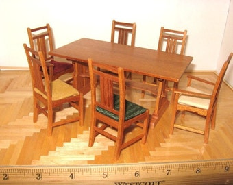 Miniature Trestle Window Dining Table and Chairs Set