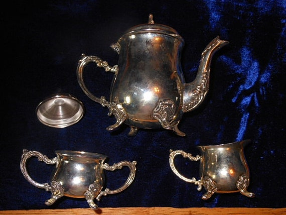 Vintage Silver Plate one Cup Tea Service with Sugar Bown and Creamer