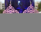 Pink Flamingo- Chandelier earrings with filigree and  swarovski crystals