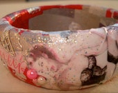 Retro Pin-Up- A red, pink and  grey collage decoupage bangle