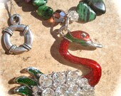 The Lake in the Forest-A ruby in zoisite, garnet and crystal necklace with a fabulous enamel pendant