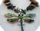 The Dragonfly-A tourmaline, prehnite, peridot and crystal necklace with a wonderful enamel dragonfly pendant