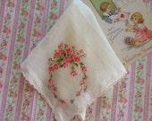 Embroidered Pink Roses Vintage Hankie