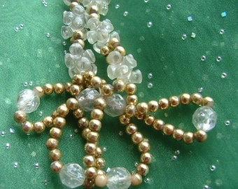 VINTAGE NECKLACE Made With Gold Beads and Clear FACETED Beads