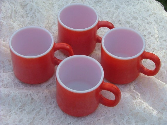 Four Vintage Red FIRE KING  MUGS