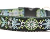 Floral Dog Collar / Marigold in Green - Custom Dog Collar