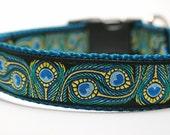 Peacock Dog Collar / Custom Dog Collar / Animal Print / Ribbon Collar