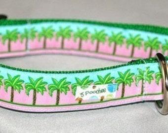 Pink Palm Tree Dog Collar / Pink Key West Palm Tree / Custom Nautical Collar / Beach