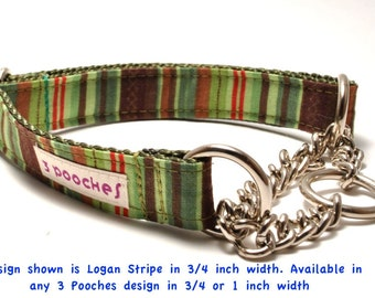 ANY Design Chain Martingale Collar / 3 Pooches / Martingale Dog Collar