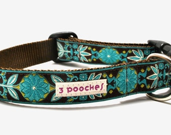 Floral Dog Collar/ Custom Dog Collar/ Marigold in Teal / Flower
