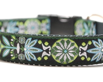 Floral Dog Collar / Marigold in Green - Custom Dog Collar