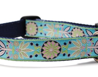 Custom Dog Collar - Marigold in Turquoise