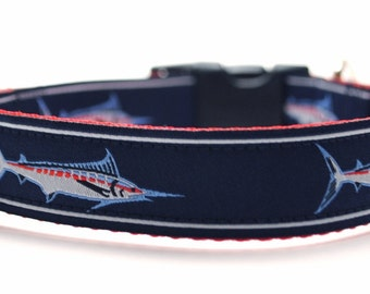 Marlin Dog Collar / Fish Dog Collar / Custom Nautical Dog Collar