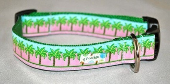Dog Collar - Pink Key West Palm Tree