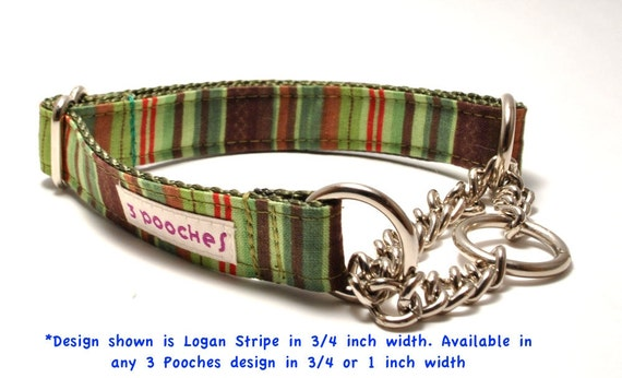 You Pick Design - Chain Martingale Collar 1 inch or 3/4 inch