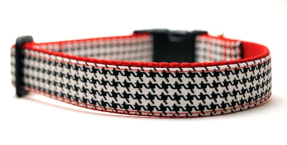 Houndstooth Dog Collar - 10 Colors to Choose From