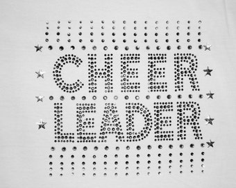 Cheer Rhinestone T-Shirt,Cheer Leader Smokey and Clear Rhinestone Design With Silver Studded Stars,Girls T-Shirts,Cheer T-Shirts