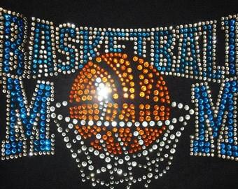 Basketball Rhinestone T-Shirt,Basketball Mom,Clear,Blue,Orange,Mom Tshirts,Sports Tshirts,Sport Bling,Mom Bling,Mom Tshirts