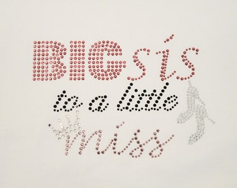 Big Sister T-Shirt,Big Sis to a Little Miss Dark Pink, Light Pink, and Black Stud Rhinestone Design,Girls T-Shirts,Sister T-Shirts