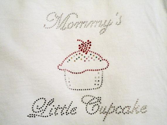 Rhinestone T-Shirt,Mommy's Little Cupcake Design,Girls T-Shirts,Toddler T-Shirts,Cupcake T-Shirts,Mommy T-Shirts