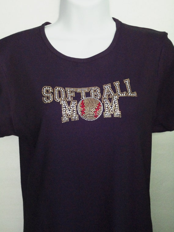 Softball Rhinestone T-Shirt,Softball Mom Rhinestone Design, Mom Tshirts, Mom Bling, Sports Tshirts