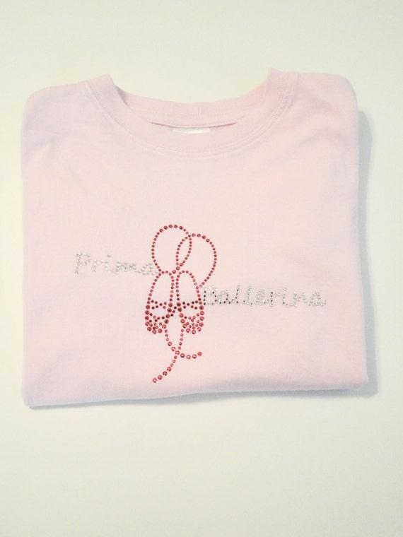 Ballerina Rhinestone T-Shirt,Prima Ballerina Design,Pink,White,Ballerina T-Shirts,Ballet T-Shirts,Dance T-Shirts,Girls T-Shirts