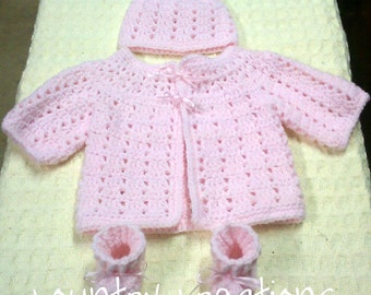 Crochet Baby Sweater Hat Booties Set,Sweater Set/Crochet/ Sweater/Gift Set/ Baby Set/ Hat / Booties  Newborn (Ready to Ship)