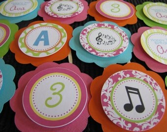 Music Birthday Decorations, Girl Birthday Decorations, Music Birthday CUPCAKE TOPPERS, You Choose The Colors