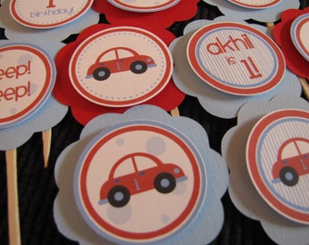 Car Birthday Decorations, Boy Birthday Decorations, Car Birthday CUPCAKE TOPPERS, You Choose The Colors