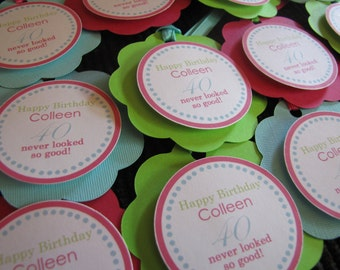 Adult Birthday Party Decorations, Birthday Party Decorations, FAVOR TAGS, You Choose The Colors