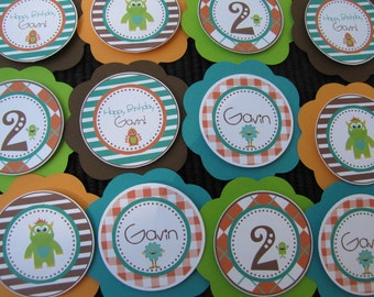 Cute Monster Birthday Party Decorations, Cupcake Toppers, Birthday Party Decorations, Customized