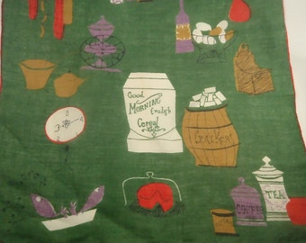 Vintage Retro Pat Prichard Vintage Hanky Handkerchief Green with Food Theme Kitchen Hankie