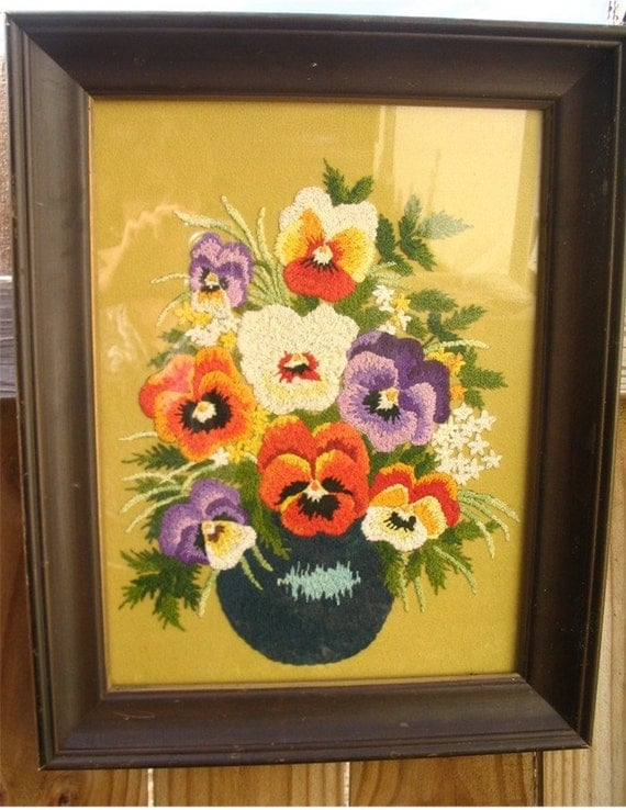 Pansy Embroidered Framed Picture