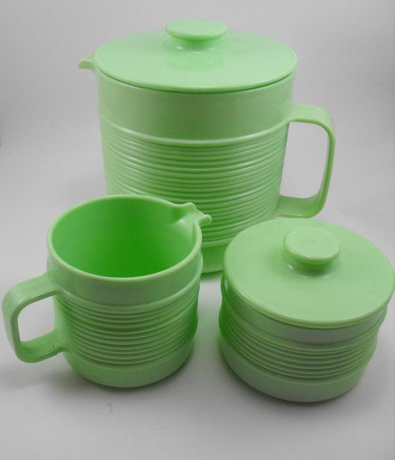Mint Green Rubbermaid Pitcher Creamer Sugar Set