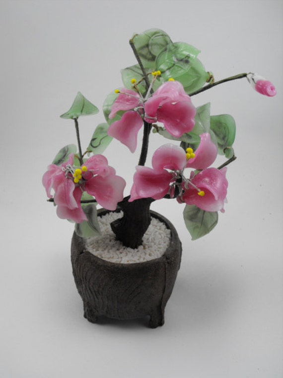 Vintage Glass BONSAI Tree with Pink Flowers