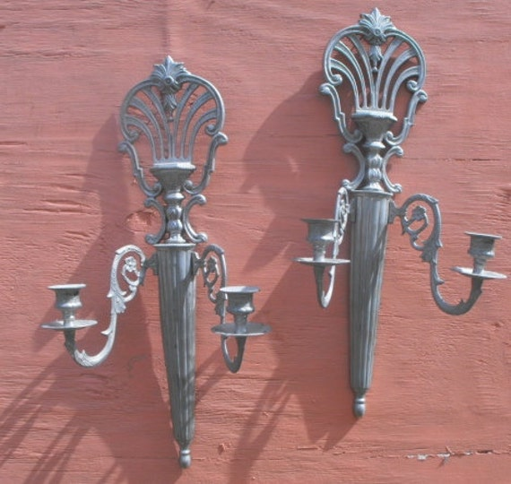Two Ornate Candleholders Wall Sconces Silver colored