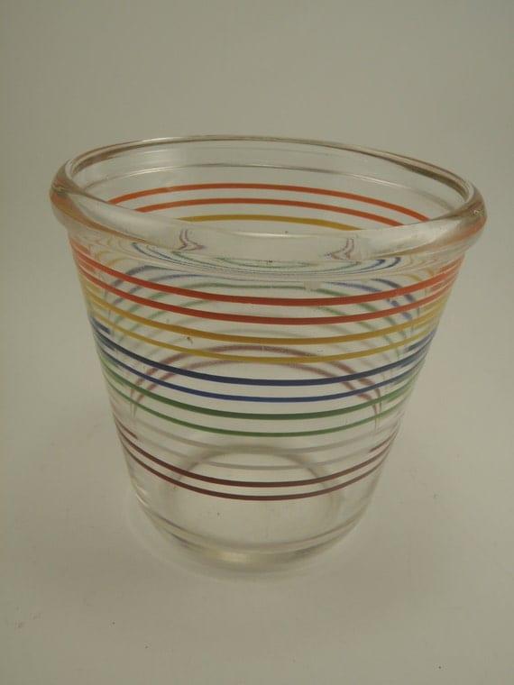 Vintage Rainbow Striped Glass Bowl