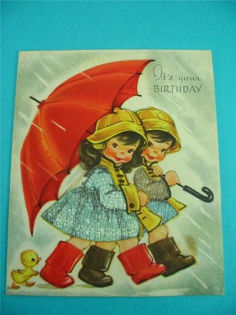 vintage birthday card with umbrella kids galoshes rainy day