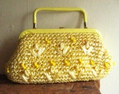 Delightful Lemon Yellow 1960's Convertible Clutch