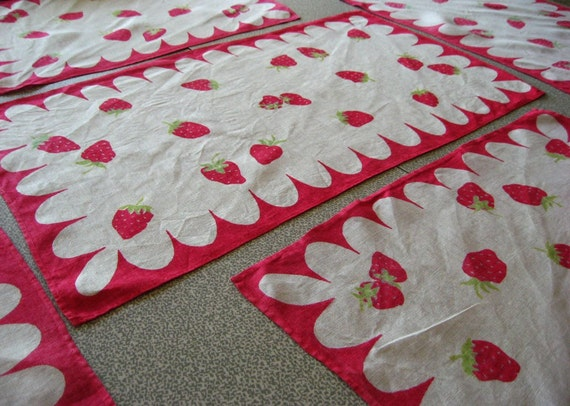 Darling Set of Strawberry Linen Napkins or Placemats