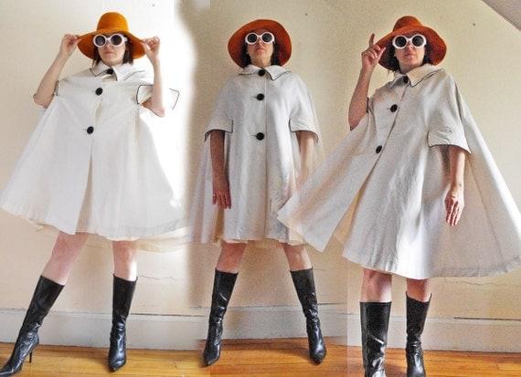 Super Mod 1960's Black and White Cape - Designer Quality