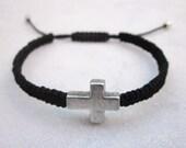 Sideways cross friendship bracelet macrame black cord  trendy fashion bracelet stackable more colors available
