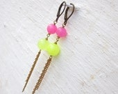 Neon jade drop earrings fluo chain dangle earrings stone summer jewelry