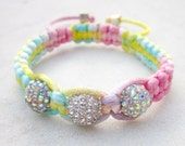 Friendship bracelet rainbow pastels macrame rhinestone disco ball beads