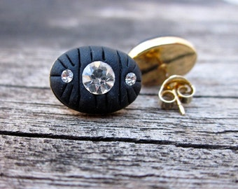 Swarovski and polymer clay post earrings minimal stud earrings black oval earrings simple jewelry
