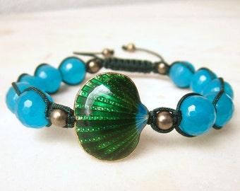 Shell cloisonne bracelet friendship bracelet jade bracelet macrame bracelet blue stone bracelet stacking bracelet beach jewelry