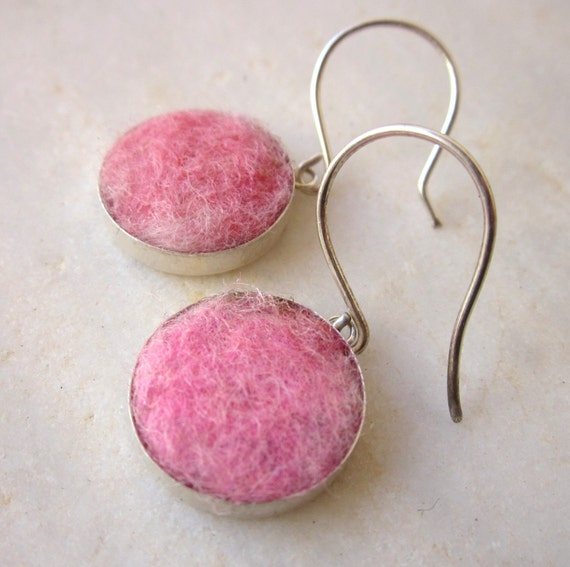 Pink felt earrings sterling silver drop earrings circle round earrings wool
